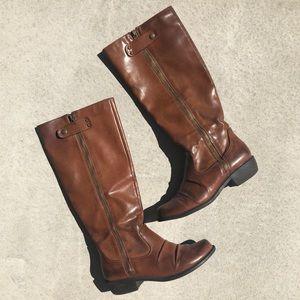 Mia Brown Vegan Leather Pali Tall Riding Boots